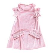 Shiningup Little Kid Princess Dress Velvet Off-Shoulder Party Formal Outfit For 2-7 Years Old