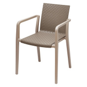 Gold Sparrow Hunter Grey and Beige Two-Tone Stackable Dining Arm Chair - Set of 2