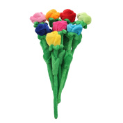Rose Plush Flower With Bendable Stems Kids Gift Toys 41cm Set Of 8