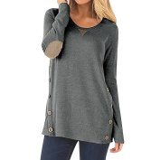 Women Long Sleeve Elbow Patch Draped Soft Tunic Tops with Button Details