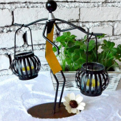Daeou Handmade glass candlestick metal crafts home furnishings