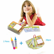 26pcs Water Magic Painting Cards & 2pcs Magic Drawing Pens, Kids Cognitive Cards A-Z Alphabet Drawing Doodle Board Book Card Educational Toy Gifts for Toddler Baby