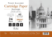 A3 Premium Very Heavy 300gsm Cartridge Pad. Soft Ivory Shade. 24 Sheets. Made in UK. For Mixed Media and General Craft Applications. By Vesey Gallery