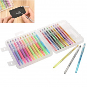 NUOLUX Gel Pens 24 Colours Set with Carrying Case for Colouring Books Draw Pens