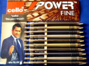 10 CELLO Power FINE Retractable Click Ball Point Pen BLACK Ink Writing Brand ADD By indian cricketer mahendra singh dhoni