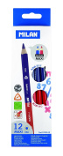 Milan Maxi – Box with 12 Pencils bicolores, Blue and Red