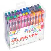 HBF 48pcs/set Gel Pens Colouring and Crafts | 48 Gel Pen Set | Quality Gel Ink Pens | Multi Coloured | Fine Ink Ballpoint Pens | Smooth, Anti Skip, Vibrant Colour - Neon , Pastel, Metalic, Glitter | A Great Range of Colours Gel Pen Set | Manufactured t ..