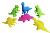 6 Kid's Novelty Colour Erasers - Dinosaurs