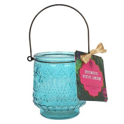 'Oriental Opulence' Rich Purple / Turquoise Vintage Style Glass Tealight Holders with Metal Handle 9.5x8.2x8.2xm