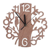 Bodhi2000® Modern Wooden Wall Clock 3D Tree and Bird Clock Living Room Home Office Decoration