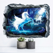 3D Effect Unicorn Wall Sticker Bedroom Living Room Decor DIY Removable Decals