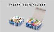 20 Doms Neon Erasers Rubbers, Assorted Colours, Party Favours School Stationery