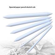 AUAUDATE 6pcs Durable Paper Blending Stump Tortillon Sketch Art Drawing Pens Tool White