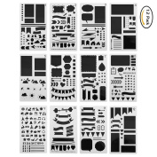 Laconile 12 Pcs Journal Stencil Set Plastic Template DIY Drawing Planner for DJournaling/Scrapbooking/Notebook/Diary/Card 10cm x 18cm