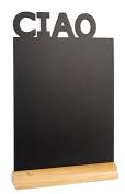 Securit Silhouette Ciao Table Chalk Board - Black/Teak