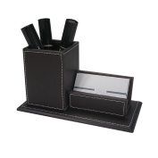 Lumanuby 1 Pcs Organiser Storage Boxes Leather Pen Box Business Card Storage Box Round Simple Design Desktop Multifunction Pencil Holder Pen Rack Black
