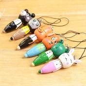 DaoRier Cute Animals Shape Ballpoint Pen Wooden Ball Pen with Phone Rope