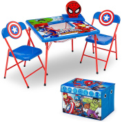 Delta Children 4-Piece Kids Furniture Set (Storage Table with 2 Chairs & Fabric Toy Box), Marvel Avengers