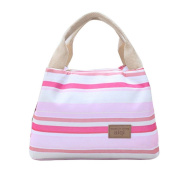 Portable Pink White Stripes Waterproof Picnic Lunch Bag Tote Reusable Insulated Cooler Lunch Case Travel Zipper Organiser Box Lunch Container Food Bento Storage Carry Bag by SamGreatWorld