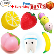 6 Pcs Slow Rising Jumbo Fruit Peach Banana Lemon Peas Strawberry and Tooth Squishies Kawaii Squishy Toys, PLUS a random cute animals or human funny face BONUS squishy toys by Aidin