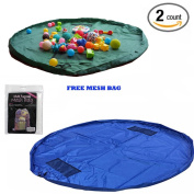 """Children's Toys Mat & Storage Organiser (2 Pack) Bag """"Green & Blue"""" for (Lego, Barbie etc. Toys Organiser) 18m And Comes With A Mesh Bag For Extra Storage"""