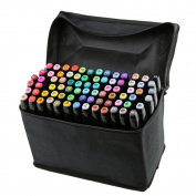 Beetest-80 PCS Colour Paint Graphic Art Twin Nib Alcohol Based Ink Pen Marker Point Pen Set with Black Storage Bag Black Pen Shell