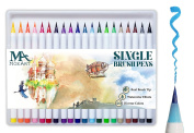 Brush Pen Set – 20 colours soft flexible Real Brush Watercolour Tips and a Durable, Watercolour Effect Ideal for Merit. Dual thickness, Mozart, Manga, Comic, Calligraphy Supplies