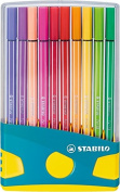 STABILO Pen 68 Fibre-tip pen, Colorparade desk set in vibrant Turquoise, 20 assorted colours