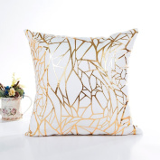 Ronamick Gold Foil Print Waist Throw Pillow Case Sofa Cushion Cover A