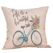 Pillow Cover, Jujunx Happy Valentine's Day Throw Pillow Case Sweet Love Square Bicycle Cushion Cover