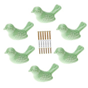 Corasays Bird Shape Ceramic Knobs DIY Door Drawer Cupboard Pull Handle Furniture Kitchen Handle Knobs and Pulls for Cabinets with Screws, Pack of 6
