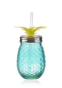 Pineapple Shaped Blue Glass Mason Jar Sipper w/Straw-Lid 470ml…