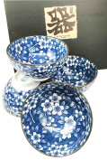 Made in Japan Blue Multi Pattern Glazed Ceramic Rice Meal Soup Dining Bowl Set 11cm Diameter Serves Four Great Gift Housewarming Asian Living Home Decor Kitchen Accessory Serving Dishware