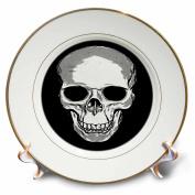 3dRose Taiche - Photography - Skull - Monotone Skull - 20cm Porcelain Plate