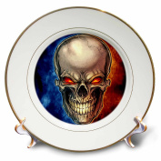 3dRose Dark, Illustration, Graphic Design, - Skull surrounded by blue and red smoke - 20cm Porcelain Plate