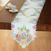 Embroidered Easter Eggs and Flowers Table Linens, Runner