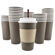 100 Pack - 470ml [8, 12, 20] Disposable Hot Paper Coffee Cups, Lids, Sleeves, Stirring Straws To Go