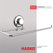 HASKO Accessories - Suction Cup Paper Towel Holder- Chrome Plated Stainless Steel Bar for Bathroom & Kitchen
