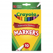 NON-WASHABLE MARKERS, FINE POINT, CLASSIC colours, 10/SET
