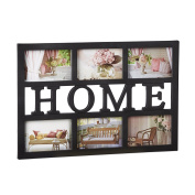 Relaxdays Picture Frame Home, Gallery Frame for 6 Photos 10 x 15 cm, Collage Frame, Horizontal, 33 x 48 cm, Black