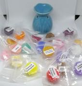 Mini Light Blue Oil Burner & 20 Assorted Mini Wax Melts