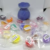 Mini Purple/Blue Oil Burner & 20 Assorted Mini Wax Melts