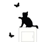 Cute Cat Pet Light Switch Funny Wall Decal Vinyl Stickers Black -KingWo