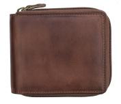 Prime Hide Ridgeback Mens Designer Brown Leather Zip Around Wallet RFID Safe
