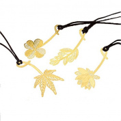 QHGstore Creative Metal Bookmark The Leaves And Flowers Lucky Clover Leaf Hollow out Bookmarks