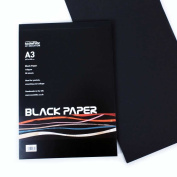 50 sheets A3 - Black Paper Pad - 140gsm - Suitable for Drawing with Pencils, Pastels, Sanguine, Collage, Displaying Photos etc. - Made in UK