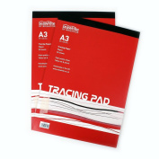 A3 Tracing Pad - 90 gsm - 30 Sheets High Quality - Semi-Transparent Paper - Suitable for Pencils and Ink Pens - Ideal for Students and Professional Artists