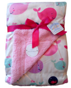 Baby Girls Pink and White Whale Reversible Infants Wrap Blanket 76cm x 102cm approx