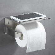 Toilet Paper Holder with Phone Shelf, APLusee SUS304 Stainless Steel Modern Kitchen Bathroom Accessories Tissue Holder Wet Wipes Storage Rack Paper Towel Dispenser