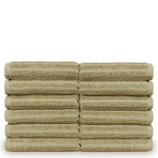 Luxury Hotel & Spa Towel Turkish Cotton Washcloths - Driftwood Colour - Stripe - Set of 12